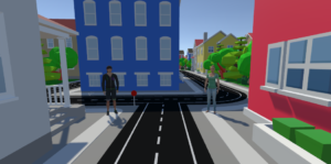 Two people standing either side of a crossroads, amidst colourful buildings.